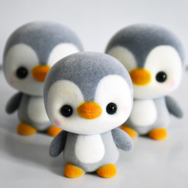 5.5CM Super Cute Flocking Penguin Doll Kawaii Mini Action Figure Decoration Toys For Children Girls Exquisite Toy Christmas Gift