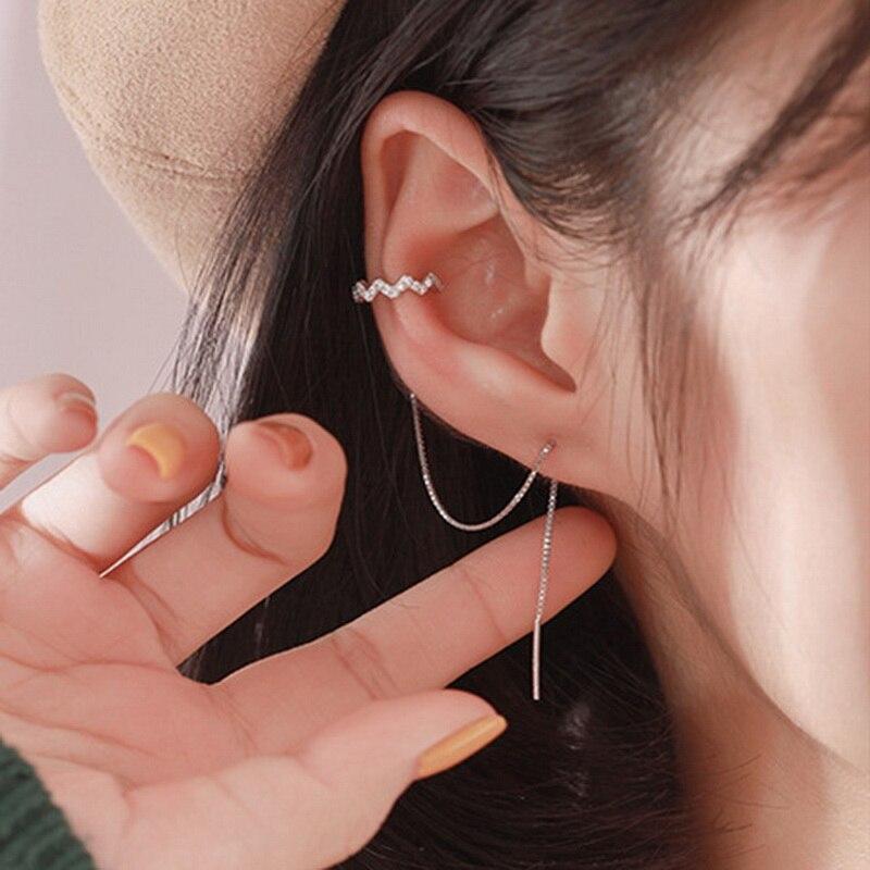 DW 1 PC Ear Clip Long Tassel Earrings for Women 2020 Zircon Ear Cuff Earring Ear Line Fashion Jewelry Gift