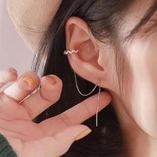 Tassel-Earrings Zircon Ear-Clip Gift Fashion Jewelry Long DW Women for 1-Pc