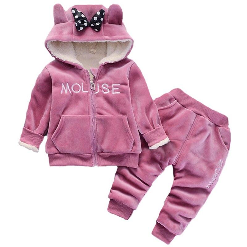 Winter 2019 New Infant Baby Girls Boys Print Hoddie Zip Top Coat+Pants Toddler Warm Clothes Sets