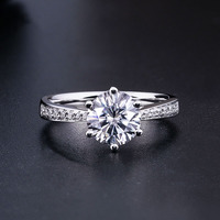925 sterling silver Moissanite ring Classic style Round Cut Ring Single Row Diamond Engagement Anniversary Ring 1ct 2ct 3ct