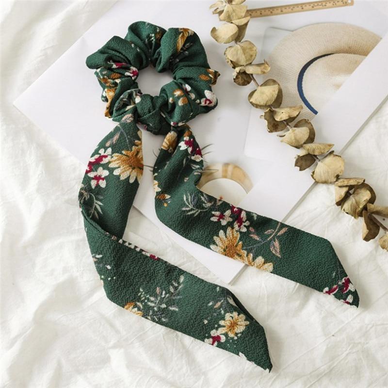 Богемные резинки для волос в горошек с цветочным принтом и бантом, женские эластичные резинки для волос, повязка-шарф, резинки для волос, аксессуары для волос для девочек - Цвет: Floral 3