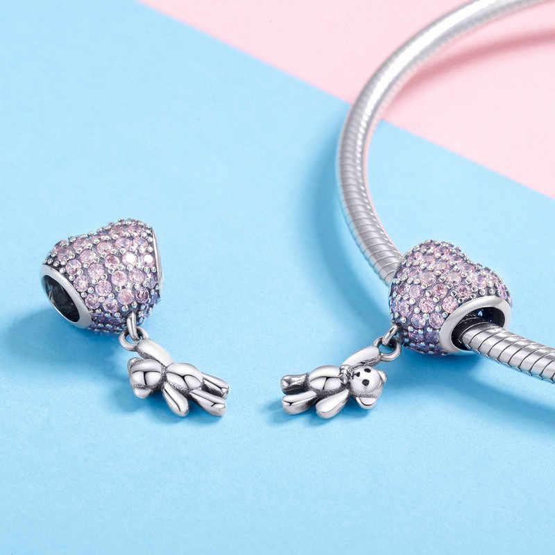 CodeMonkey 925 Sterling Silver Heart Charmหมีลูกปัดเดิม 3Mmกำไลข้อมือDIYจี้Charmเครื่องประดับC1054
