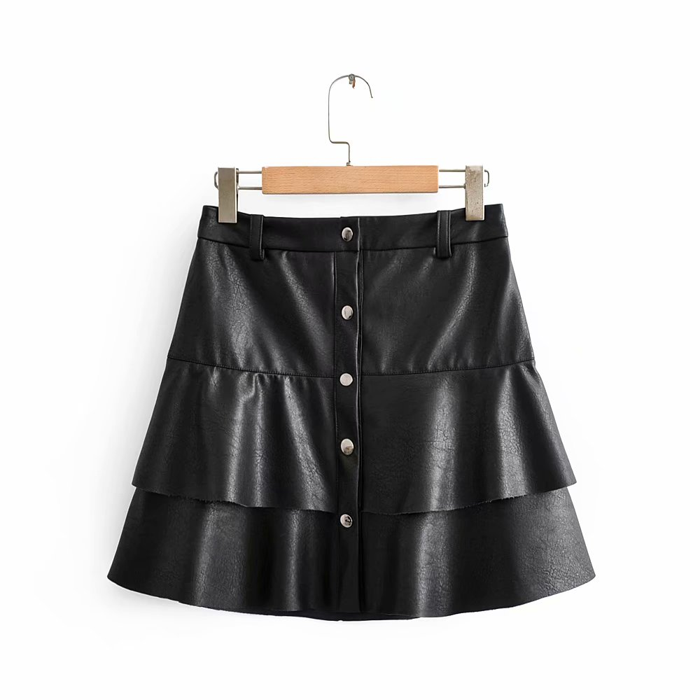 New Women Vintage Cascading Ruffles PU Leather Mini Skirt Faldas Mujer Ladies Single Breasted Casual Vestidos Chic Skirts QUN526
