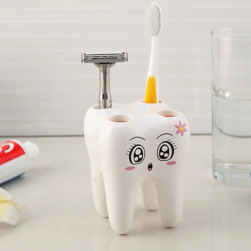 Creative Toothbrush Holder Stand Razor Shelf Bracket 4 Hole Bathroom Tooth Shape JWYJZ65 image