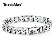 Bracelet à mailles cubaines pour hommes, bijoux de 8 à 11 pouces, en acier inoxydable, couleur or argent, 10mm, 316L, HBM123