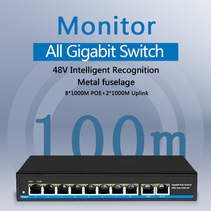 Image 2 - 48V Gigabit 10 портовый коммутатор Poe сетевой гигабитный коммутатор Поддержка IEEE802.3af/at IP камер и Беспроводной точка доступа, сетевой коммутатор