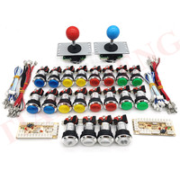 Zero Delay Arcade cabinet DIY kit for 5V LED chrome push button SANWA Joystick 1 & 2 player COIN button USB to PC / Raspberry Pi