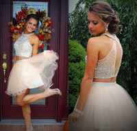 Two Pieces Halter Short Prom Dress A Line Beading Crystal Top Sweet 15 Graduation Cocktail Party Dress Plus Size Custom Made