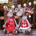 Рождественские украшения для дома, куклы красного лося, декор на свадьбу, новый год, Рождество, прекрасные фигурки, сидячие игрушки, подарок ...