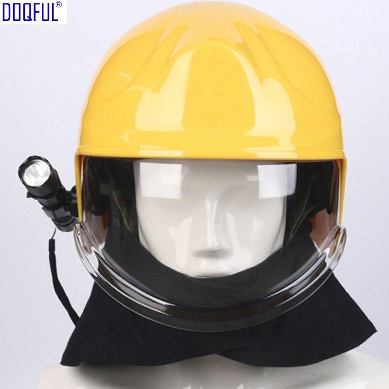 European Forest Fire Insulation Rescue Crash Helmet Mask Head-mounted Flashlight Flame Retardant Shawl Safety Casco De Seguridad