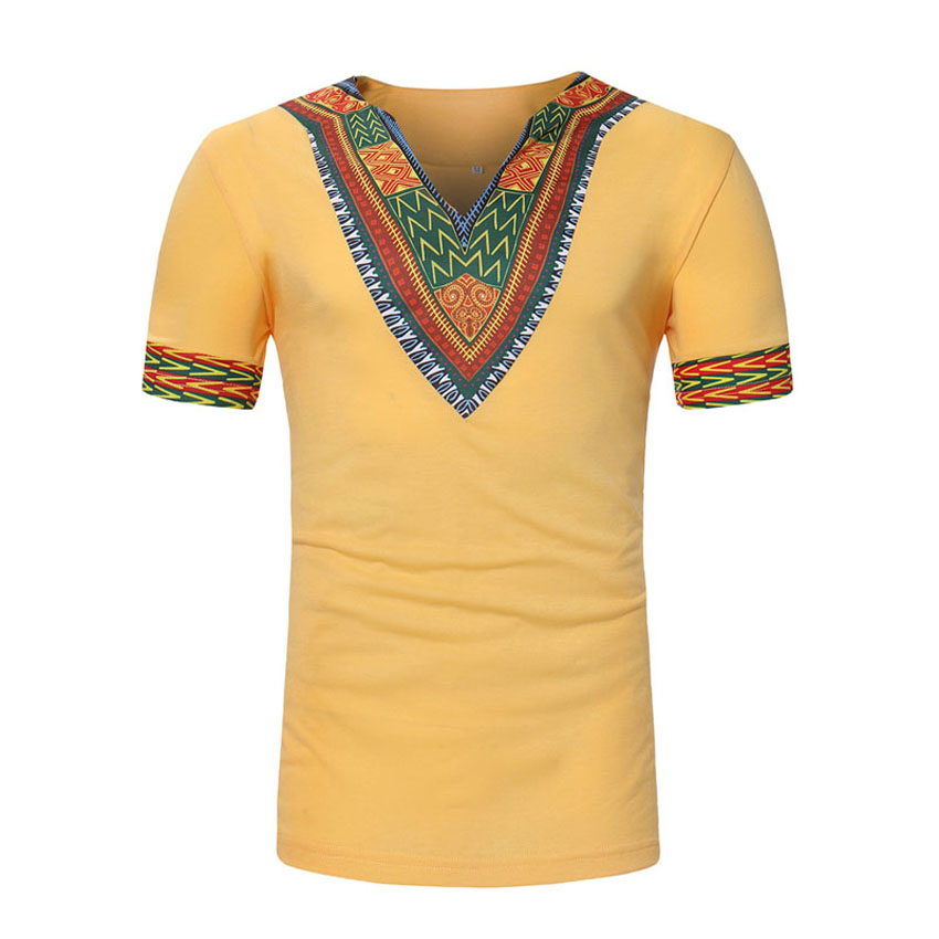 Africa Style Hip Hop T-shirt For Male V-neck Blending Men African Traditional Costumes Dashiki Tops Tees Bazin Riche Clothing