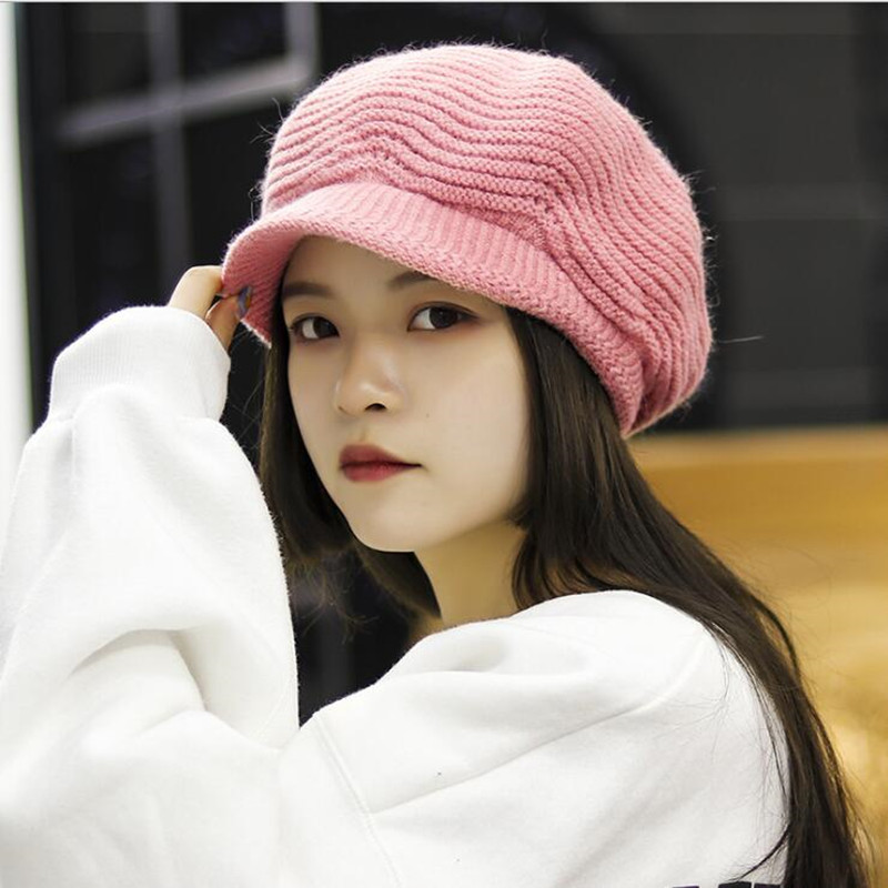 SILOQIN Trend Autumn Winter Woman 39 s Keep Warm Knit Berets Fashion Wild Rabbit Hair Berets Leisure Motion Lady Brands Hat Gorras in Women 39 s Berets from Apparel Accessories