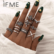 IF ME-Conjunto de anillo de serpiente para dedo Vintage para mujer, anillos para articulaciones de nudillo de Metal étnico geométrico, joyería femenina