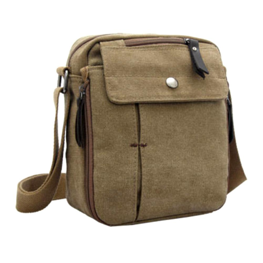 Men Casual Outdoor Sport Travel Canvas Mobile Phone Pouch Crossbody Shoulder Bag title=