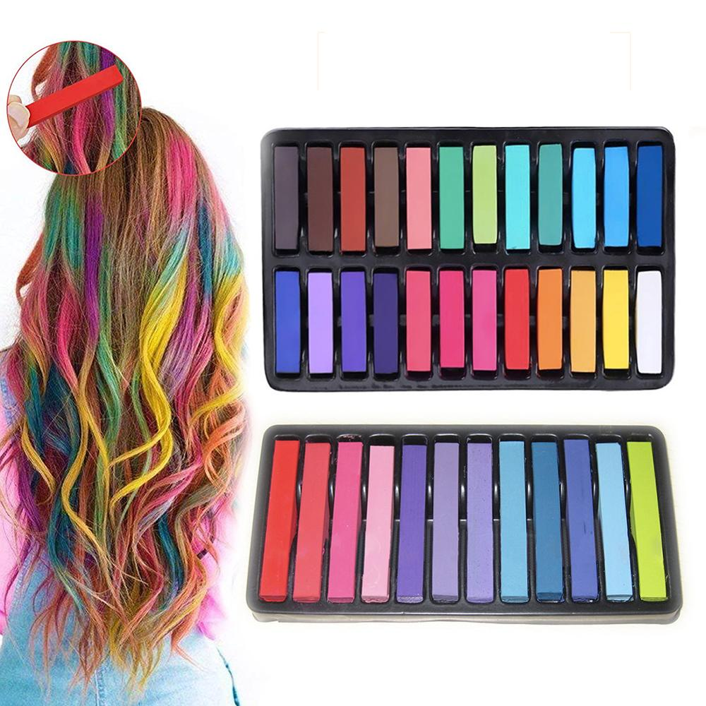 12/24 Colors Crayons Hair Color Chalk Dye Temporary Hair Non-toxic Pastels Stick DIY Styling Tools For Girls Kids Party Cosplay