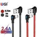 UGI 1 м 2 м 90 градусов USB кабель для зарядки Micro USB Type C USB C кабель для планшета Синхронизация данных L Форма нейлон для Samsung Oneplus