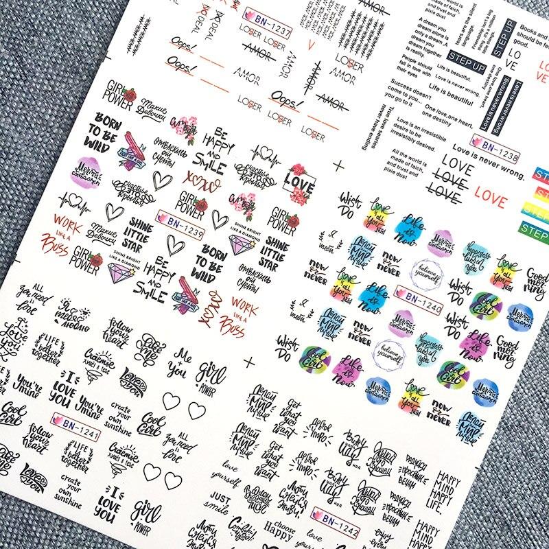 Наклейки для ногтей, 6 шт./компл., с черными буквами, водяные слайдеры, русские буквы, водяные наклейки для ногтей, художественные украшения, о...