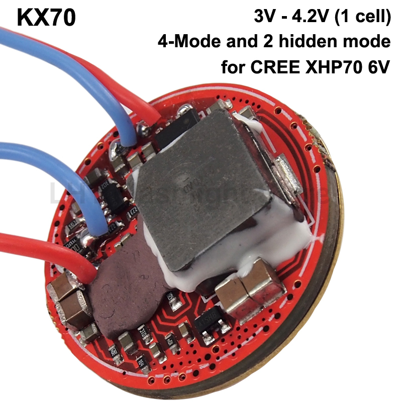 KX70 32mm 4A 1-cell 6-Mode Boost Driver Circuit Board With Side Switch For Cree XHP70 6V (1 Pc)