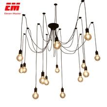 Araña negra candelabro 1,2/1,5/2 m Vintage decoración de loft ajustable E27 Edison bombilla araña lámpara de techo accesorio luz ZDD0009