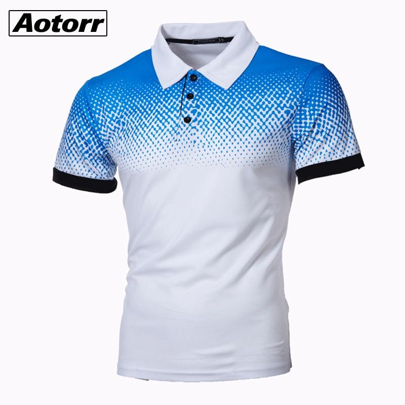 Рубашка-поло мужская с коротким рукавом, Повседневная Уличная одежда, деловой модный топ с лацканами и градиентными цветами, лето