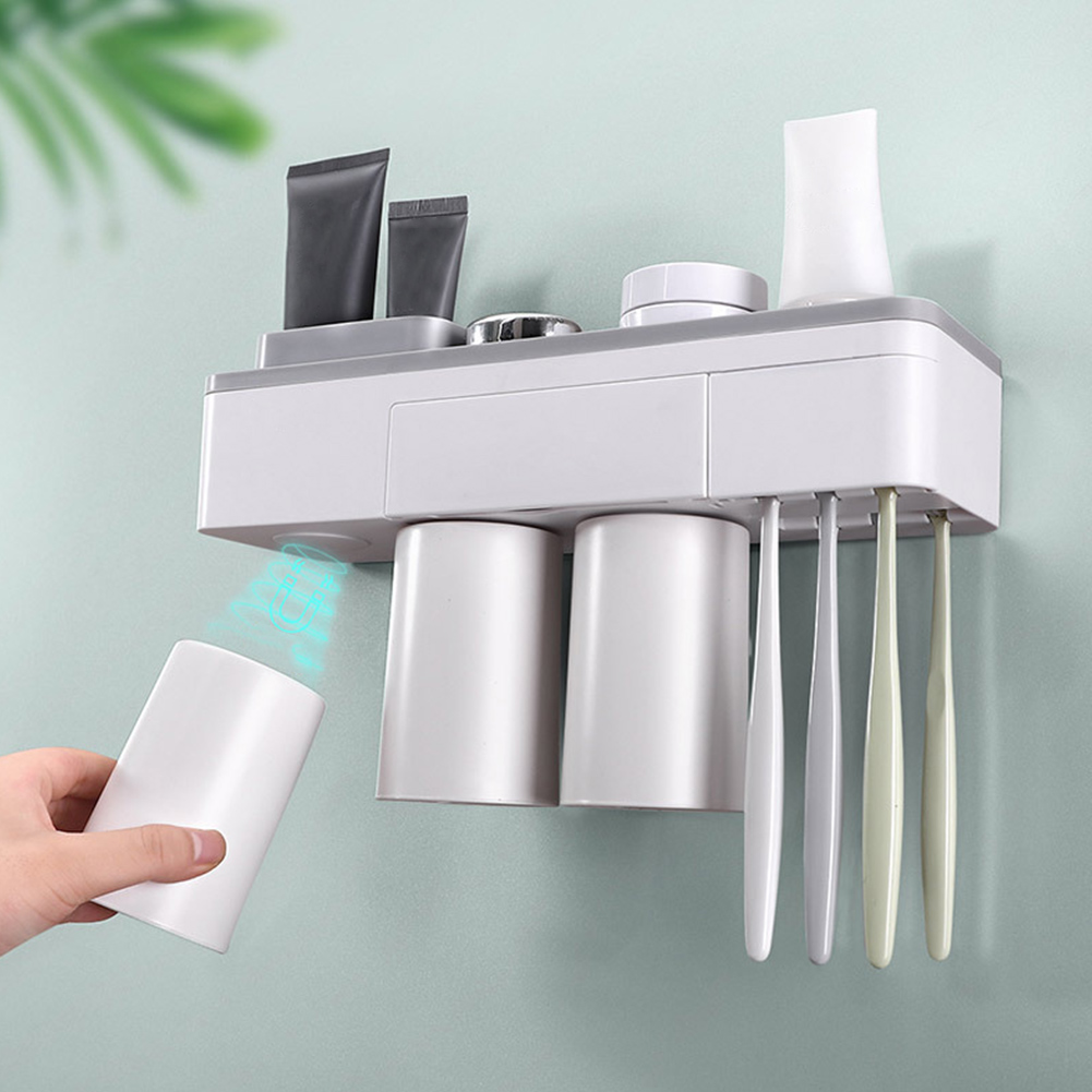 3cups Inverted Space Saving Storage Rack Bathroom Drill Drying Home Hotel Large Capacity Wall Mount Toothbrush Holder Magnetic image