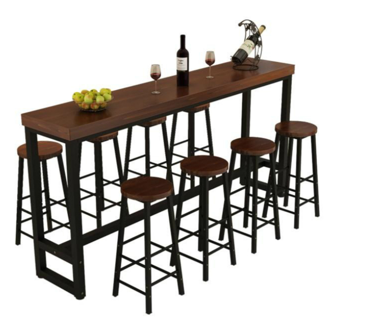 H1 Wrought Iron Solid Wood Home Bar Chair High Tea Shop Coffee Bar And Chair Bar Stools Modern  Metalic Chair  Bar Stools