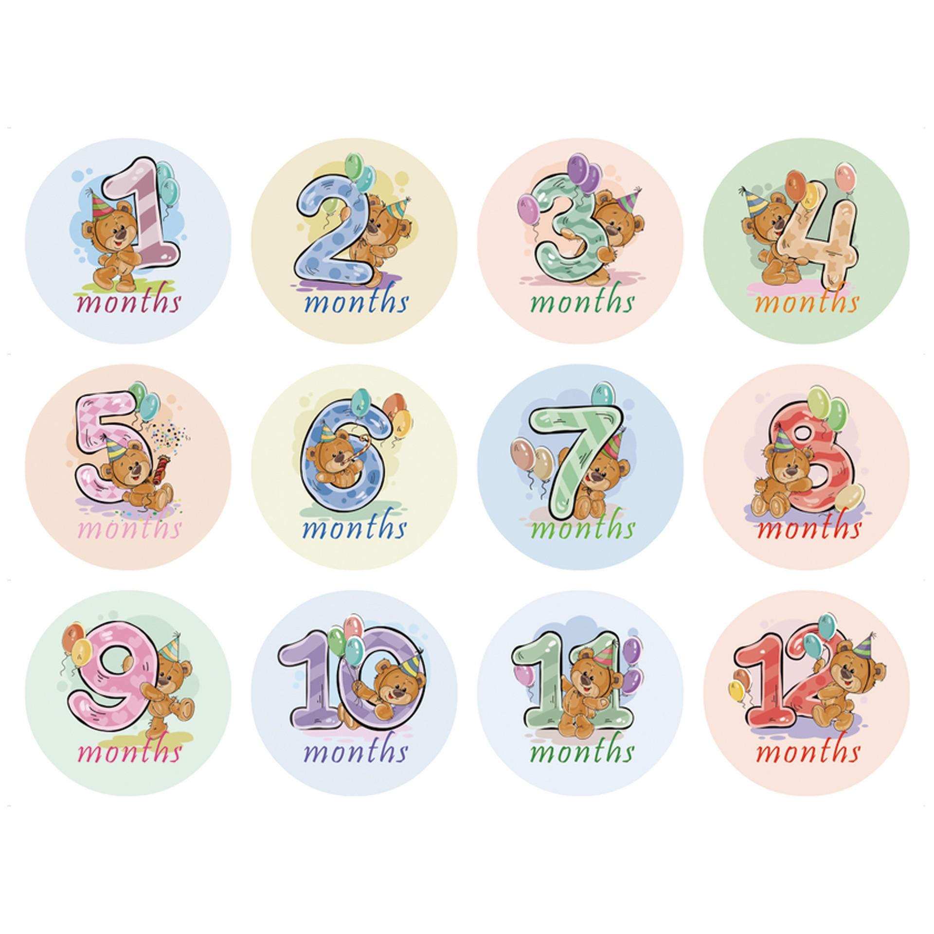 12Pcs Month Sticker Milestone Cards Baby Gift Set Baby Age Cards - Baby Milestone Cards, Baby Photo Cards - Newborn Photo