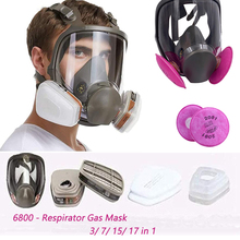 7/15 in 1 New Arrival Full Face Gas Mask Adjustable Facepiece Painting Spraying Chemical Respirator Formaldehyde protection