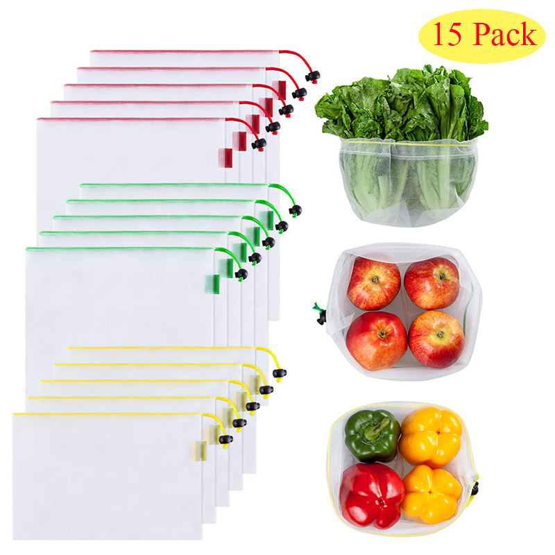 15 Pack Produce Bags Reusable Zero Waste Women Shopping Mesh Bags With Drawstring Toggle Eco Friendly  Lightweight Fruits Bag