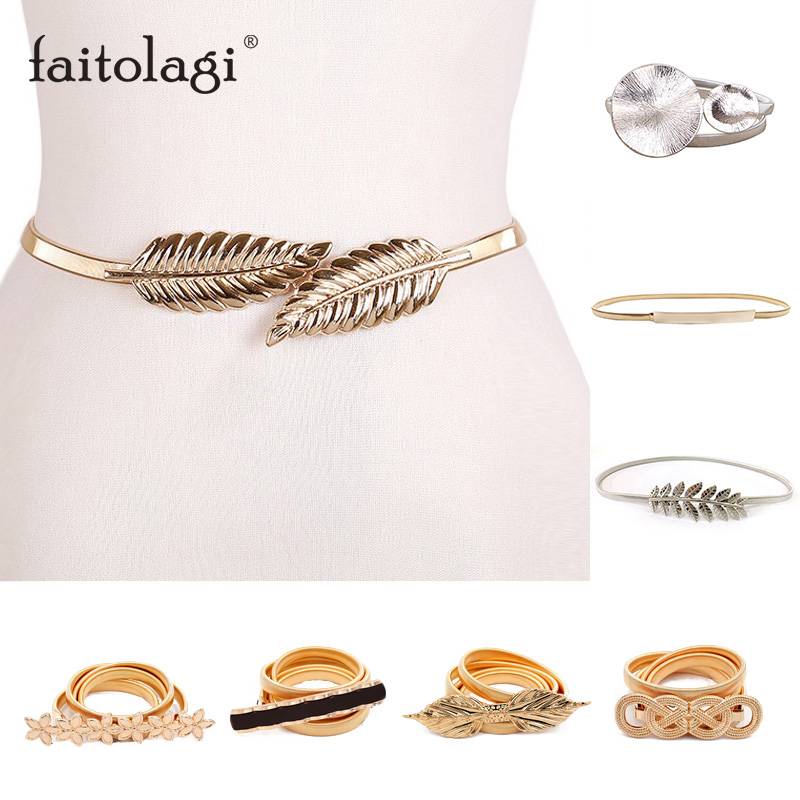 Elastic Belts Women Girl Stretch Skinny Waist Belt Flower Leaf Shape Wedding Designer Metal Female Belt Cinturones Para Mujer