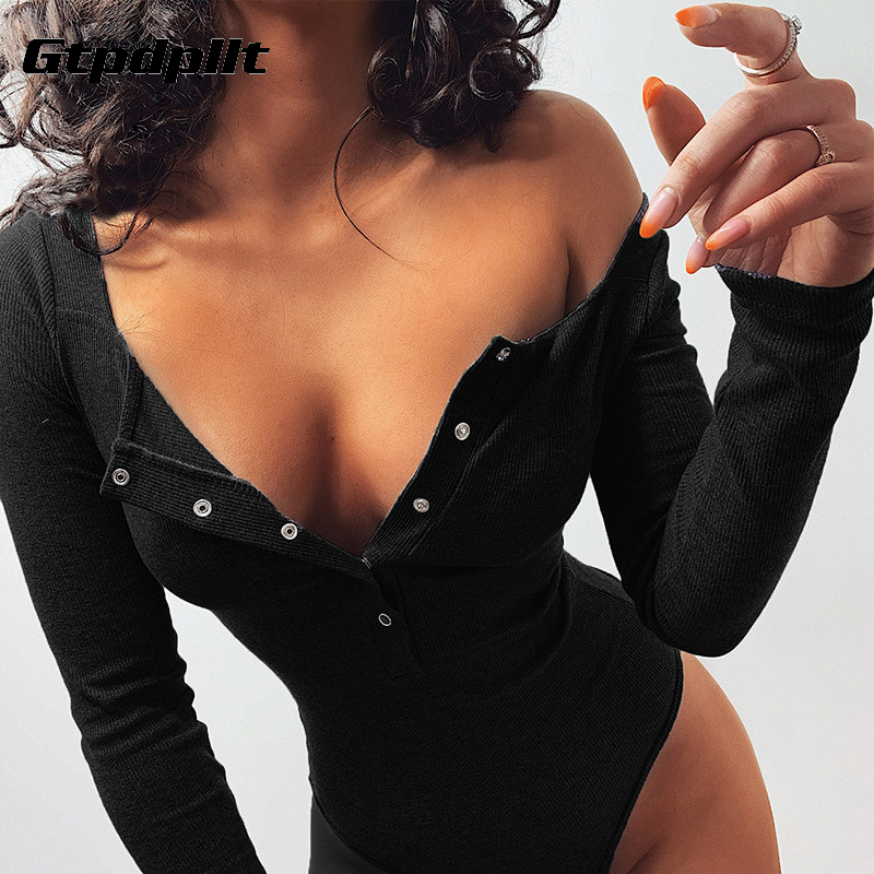 Gtpdpllt Button Long Sleeve Bodysuit Women White 2020 Autumn Winter Black Jumpsuits Body Top Sexy Bodysuits Casual Rompers