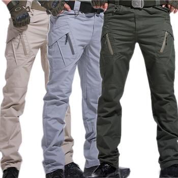 Cargo spodnie spodnie wojskowe miasto taktyczne spodnie wojskowe mężczyźni SWAT Combat Men wiele kieszeni wodoodporne odporne na zużycie spodnie treningowe tanie i dobre opinie Cargo pants Mieszkanie Kieszenie skinny 74 - 105 Pełnej długości y1 X9 W stylu Safari Midweight Suknem Zipper fly
