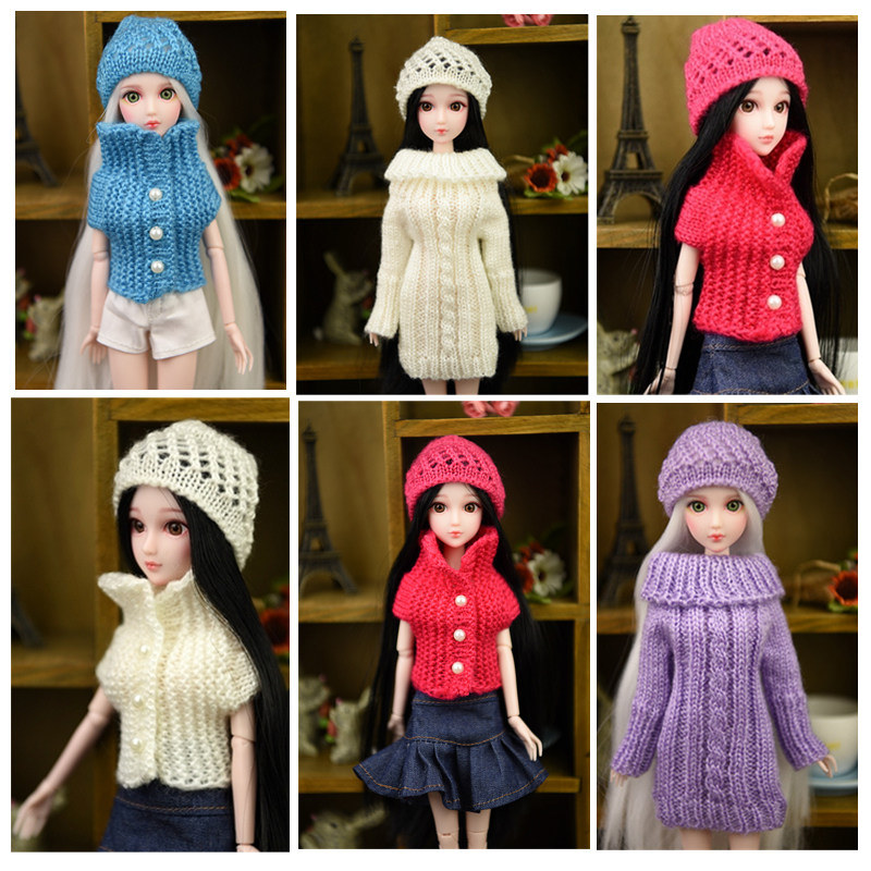 New Blyth Doll <font><b>Clothes</b></font> <font><b>1/6</b></font> <font><b>BJD</b></font> Doll Woolen Beanie Knitting Hat Skate Cap Casual Outfits For Blyth Dolls Accessories Gift Toys image