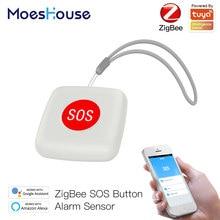 Tuya ZigBee SOS Taste Sensor Alarm Ältere Kinder Alarm Notfall Helfen Schalter Tuya Smart Leben App Fernbedienung