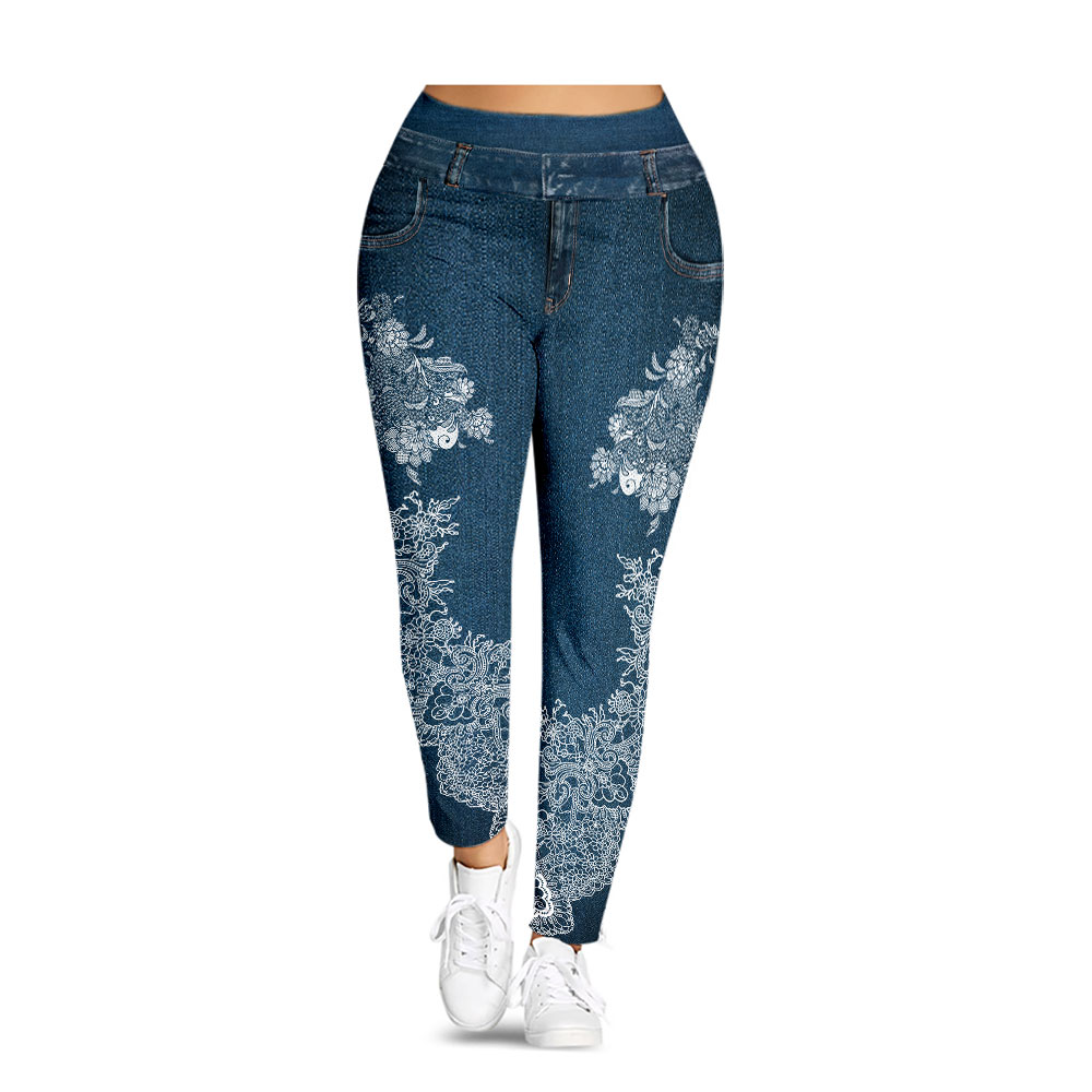 Plus Size 5XL 3D Jeans Denim Printed Legging Women Big Size Fitness Jeggings Mid Elastic Waist Casual Skinny Legins Pencil Pants