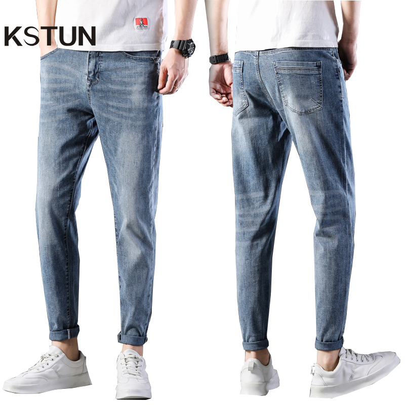KSTUN Jeans Mens Pants Light Blue Elastic Waist Slim Fit Tapered Soft Denim Pants Streetwear Boys 2020 New Arrivals Jeans Hombre