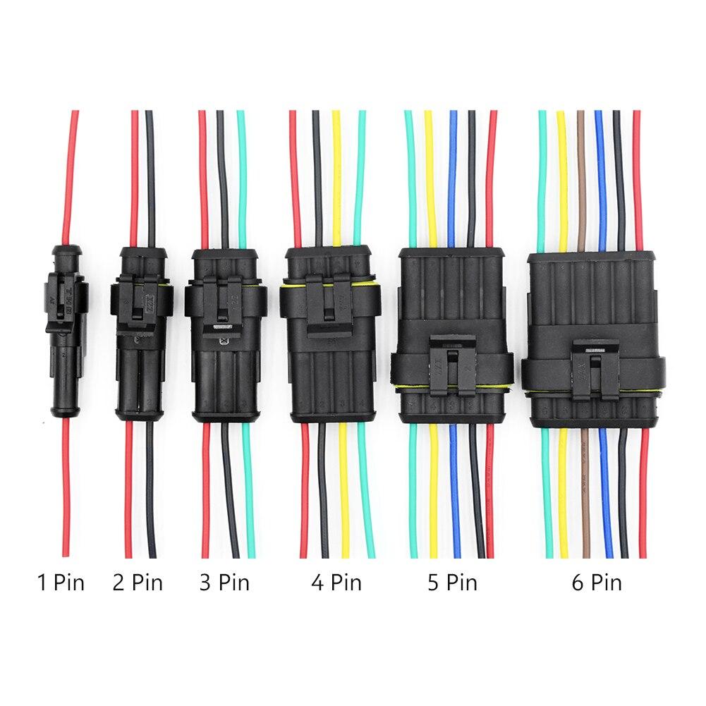 5 uds amplificador resistente al agua, 1, 2, 3, 4, 5 y 6 pines, arnés de cables macho y hembra, Conector de clavija para coche y motocicleta, conector eléctrico automático