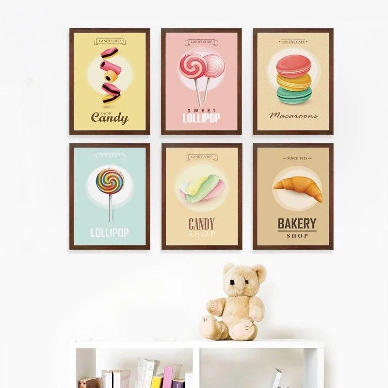 Купить плакат с изображением вкусной еды сладких макарон леденцов обои