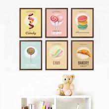 Плакат с изображением вкусной еды сладких макарон леденцов обои
