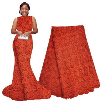 French Lace Fabric Burnt Orange African Lace Fabric High Quality Lace 2020 Embroidered Fabric for Nigerian Wedding Dresses