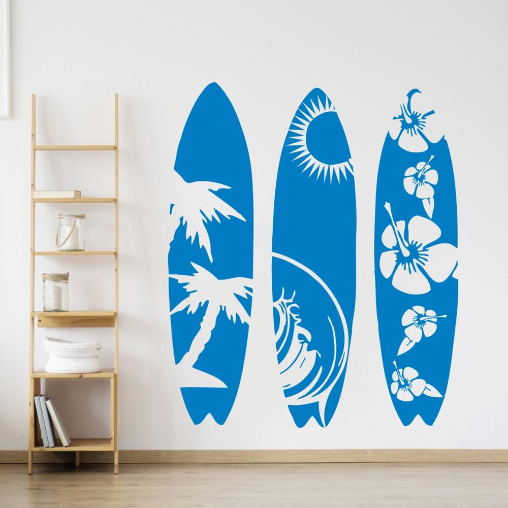 Large Set of 3 Surfboard Wall Sticker Bedroom Living Room Summer Beach Surf Board sport Wall Decal Kids Room Vinyl Mural AY2014