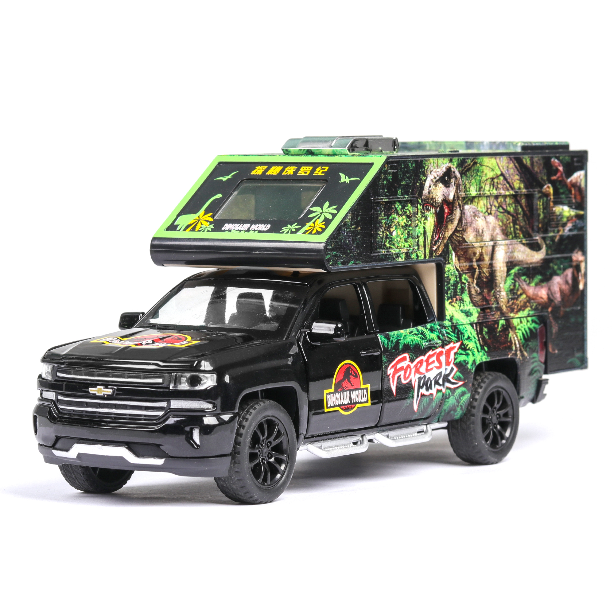 1:32 NEW High Jurassic Car Model Sound And Light Pull Back Alloy Toy Car For Children Christmas Gifts Metal Model Send Dinosaurs