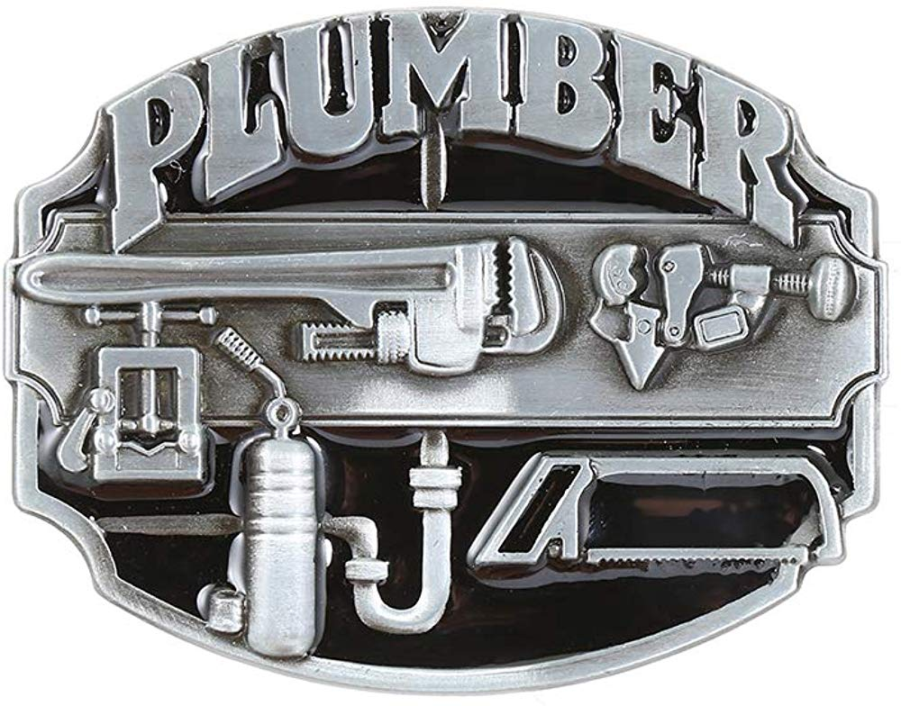 Silver Plumber Letter  Belt  Buckle For Man Western Cowboy Buckle Without Belt Custom Alloy Width 4cm