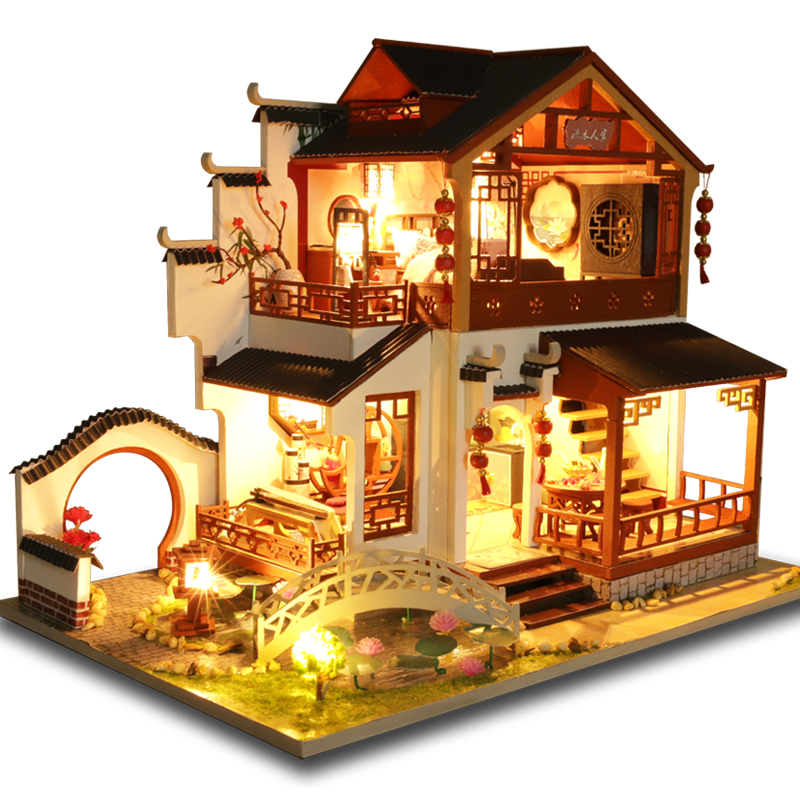 CUTEBEE Kids Toys Doll House Furniture Assemble Wooden Miniature Dollhouse Diy Dollhouse Puzzle Educational Toys For Children P3