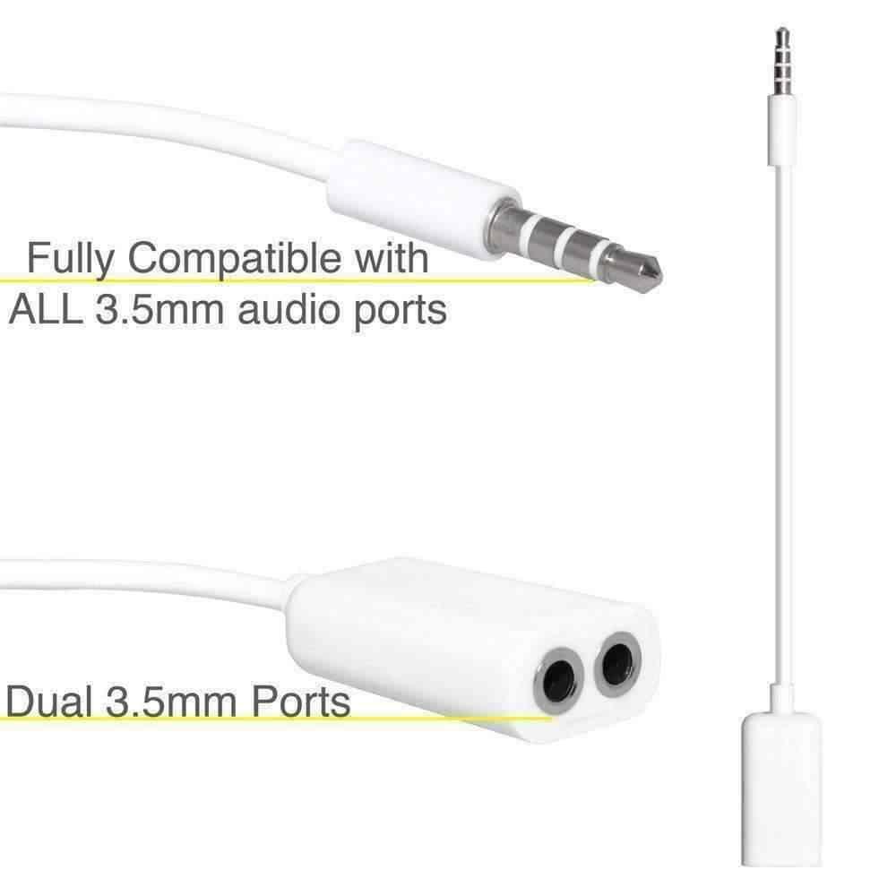 جاك 3.5 مللي متر إلى ثنائي 3.5 مللي متر كابل الذكور إلى الإناث كابلات الصوت الفاصل محول عاشقين التوصيل ستيريو سماعة أذن لهاتف iPhone samsung