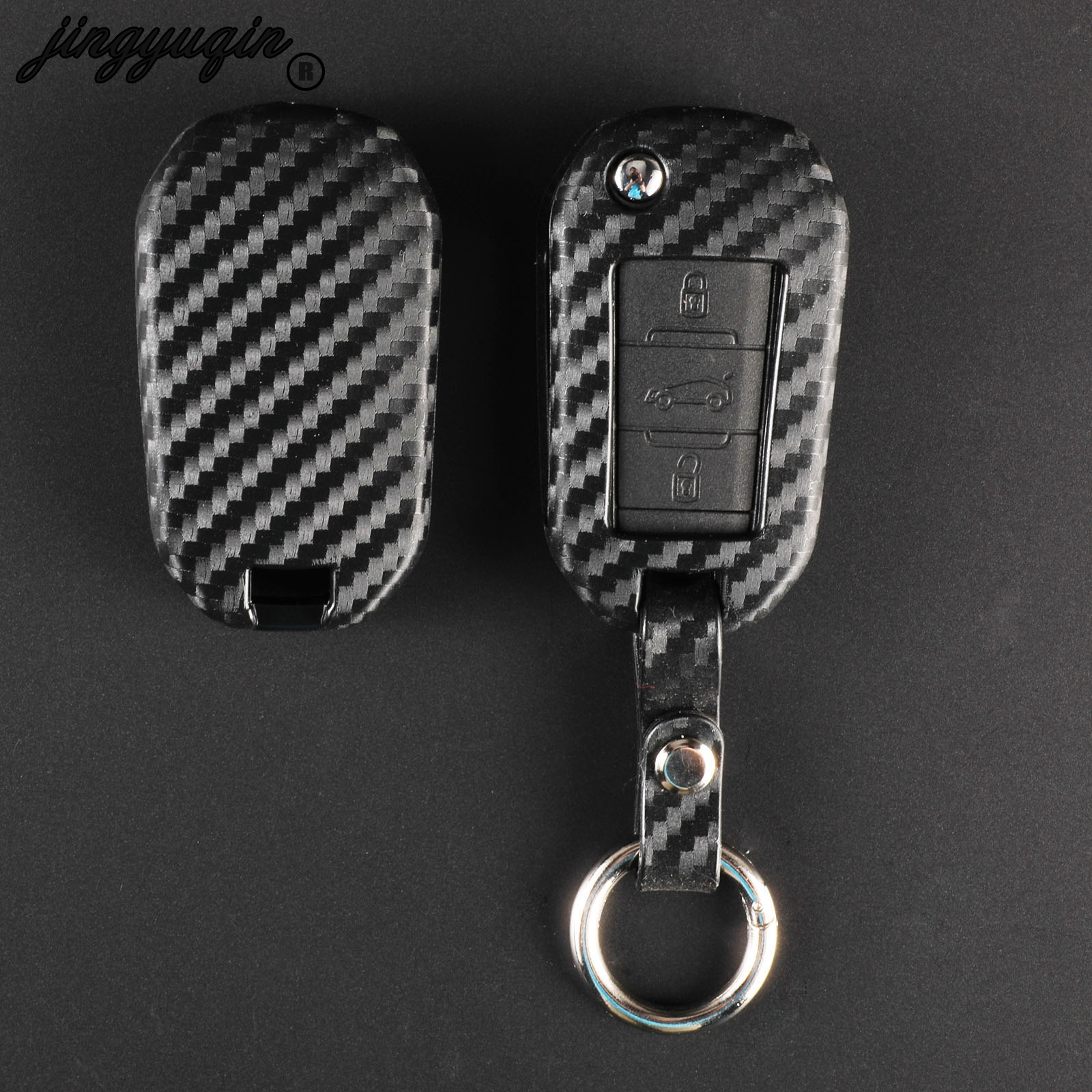 jingyuqin Carbon Silicone fiber Folding <font><b>Remote</b></font> <font><b>Key</b></font> Case Cover for <font><b>Peugeot</b></font> 3008 <font><b>208</b></font> 308 508 408 2008 Citroen C4 CACTUS C5 C3 C4L image