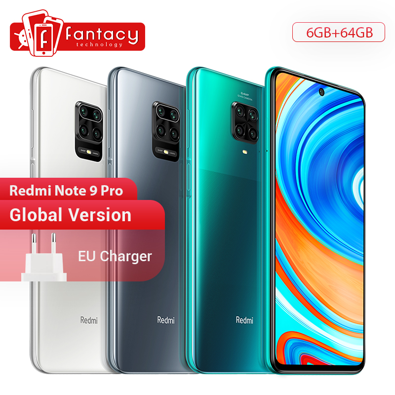 Global Version Xiaomi Redmi Note 9 Pro 6GB 64GB Snapdragon 720G 64MP AI Quad Camera Smartphone Note 9 Pro 5020mAh 30W QC