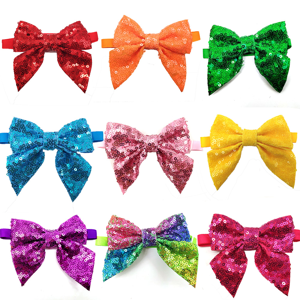 30 Pcs font b Pet b font Dog Grooming Christmas Shining Bowknot Puppy Dog Cat Bow