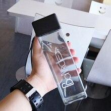 Taza de agua cuadrada para botellas de agua con cuerda transparente estilo coreano resistente al calor gran oferta